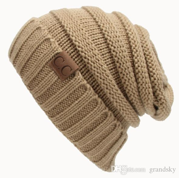 22595787610 2019 HOT CC Trendy Hats Winter Knitted Beanie Label Winter Knitted Wool Cap  Unisex Folds Casual CC Beanies Hat Solid Hat KKA1604 From Grandsky
