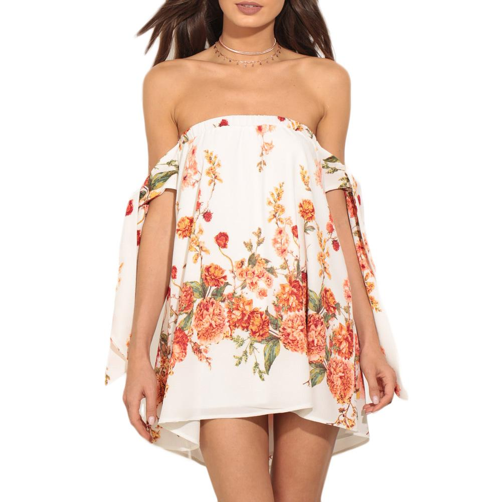 bca5173517df 2019 Sexy Summer Women Mini Dress Floral Print Off Shoulder Lolita Dress  Lace Up Bow Sleeve Backless Casual Beach Dress White XL White Dress With  Gold White ...
