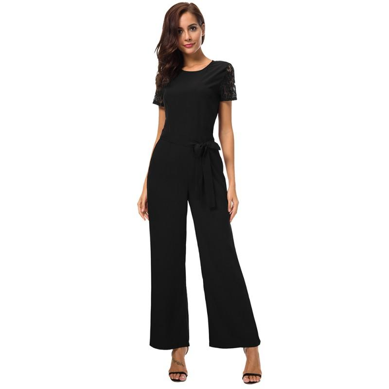 2a3e0d3887cc 2019 Women Jumpsuit Long Pants Women Rompers Hollow Out Ladies Solid  Elegant Female Lace Short Sleeved Backless Jumpsuits Overalls From  Morph1ne