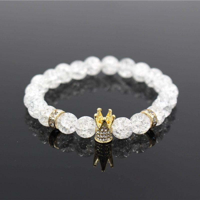 Micro Pave White CZ Gold Color King Crown Charm Bracelet Men Dull Polish White Popcorn Stone Bead Bracelet Jewelry For Women
