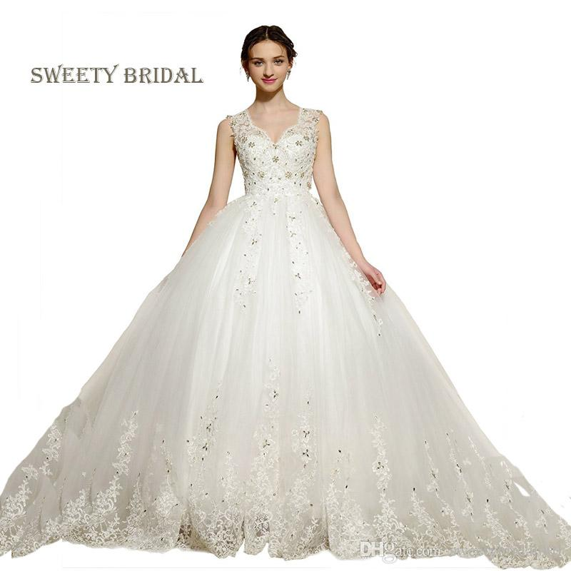 Princess A Line Wedding Dresses Tank Gold Beaded Ivory Lace Accented ...