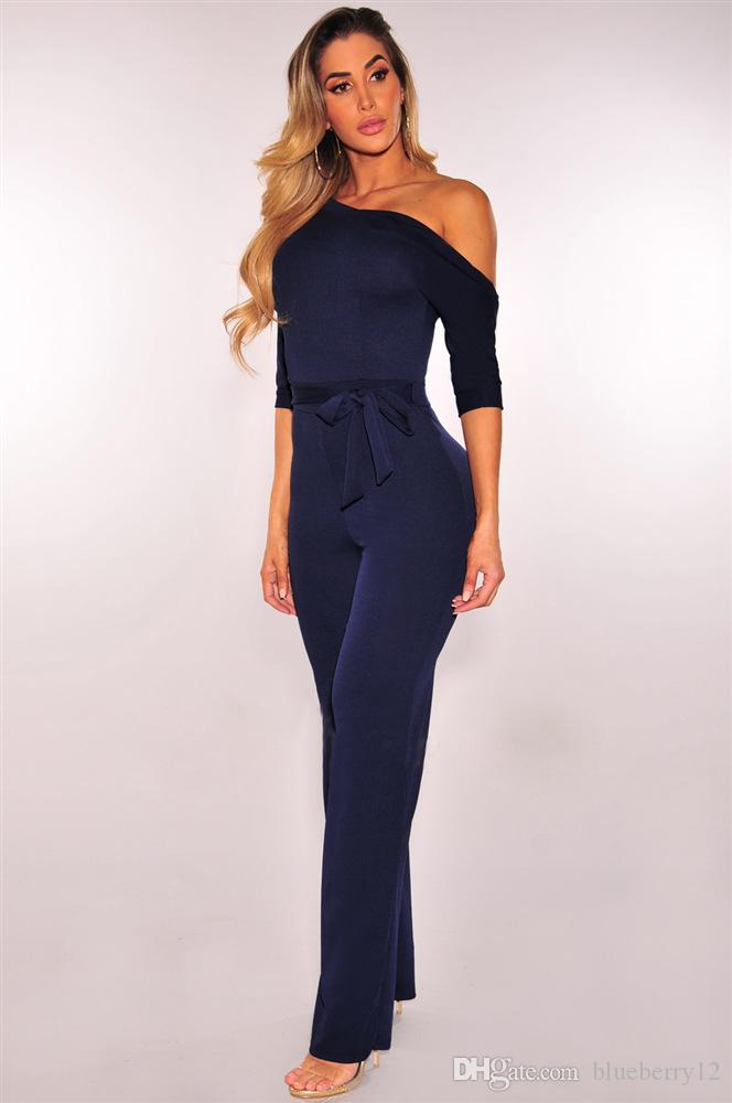 Elegant Women Slim Fit Bodysuits Fashion Half Sleeveless Long pants Jumpsuits Casual Curve Suit For Patry