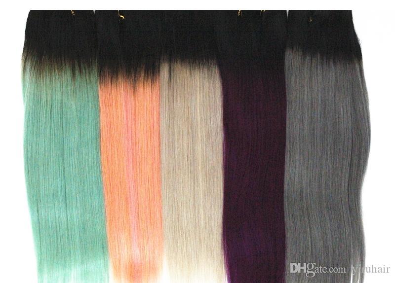 Cabelo Humano malaio 4 Pacotes Em Linha Reta 1B / Loiro colorized Extensões de Cabelo Em Linha Reta 1B / Roxo 1B / Cinza Colorido Tramas de Cabelo Duplo