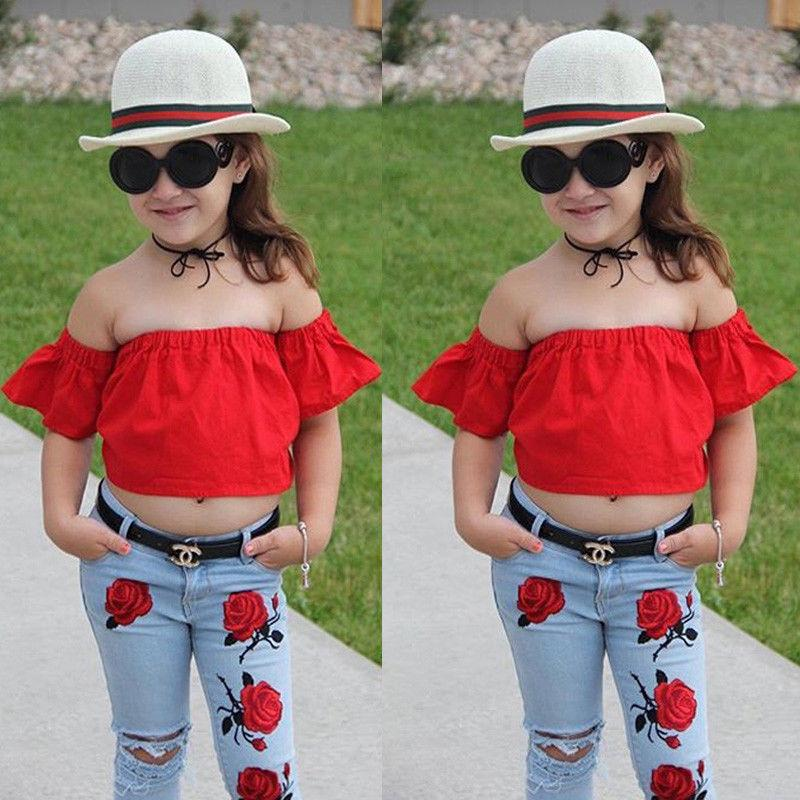 22cc3482 Pudcoco 2018 Kids Baby Girl Clothes Summer Off Shoulder Tops + Denim Flower  Pants Jeans Children Girls Clothing Set 2-6T