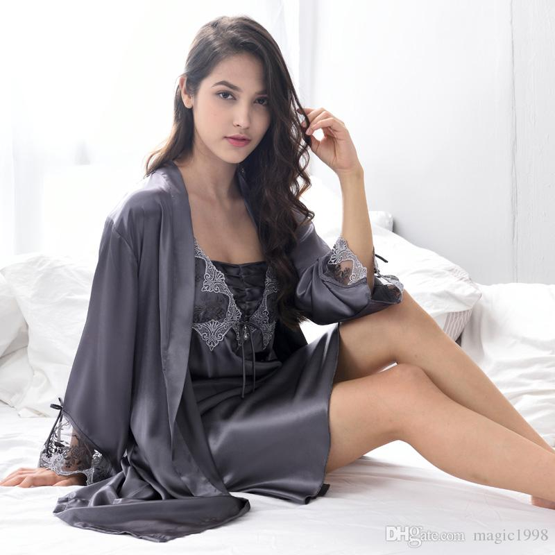 Xifenni Robe Sets Female Sexy Satin Silk Sleepwear Women Lace Embroidery Faux Silk Sleeping Gown Two-Piece Bathrobes X9223