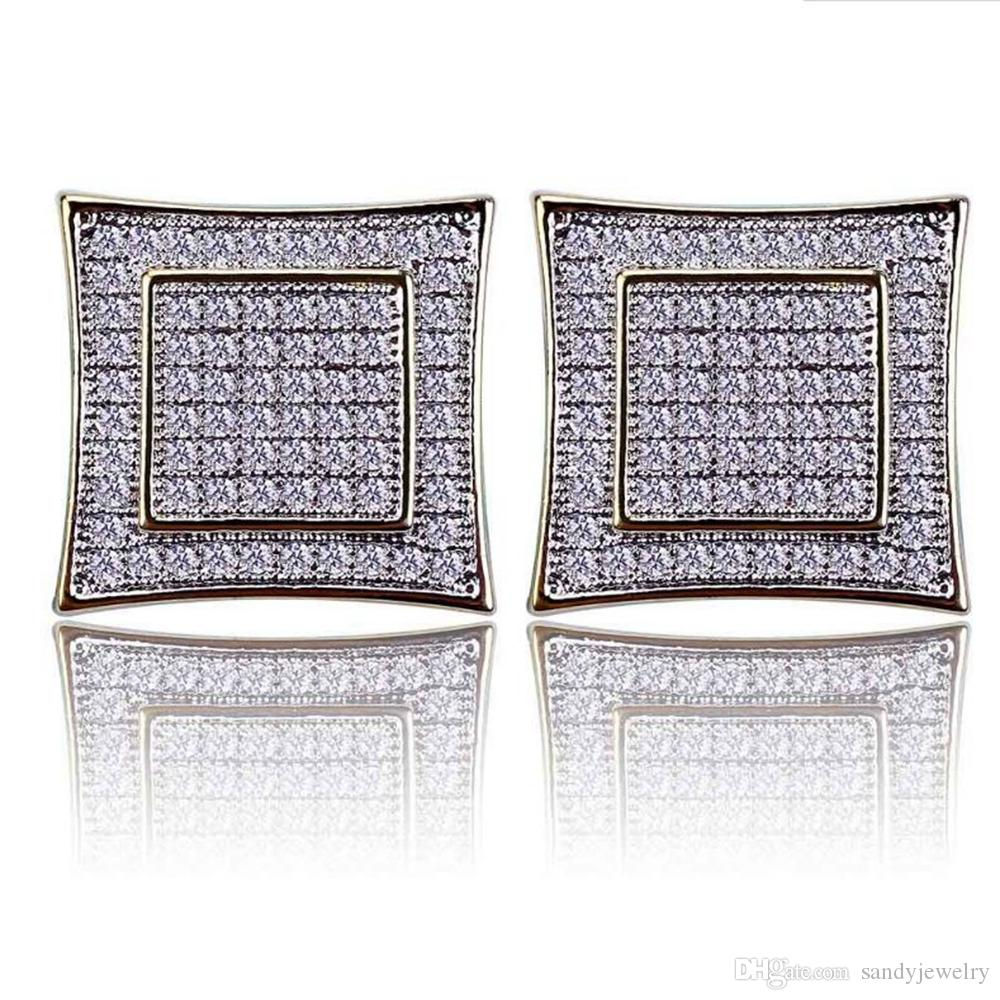 15mm Hip Hop Men Women Earring Copper Gold Color Iced Out Micro Pave Cubic Zircon Lab D Stud Earrings With Screw Back