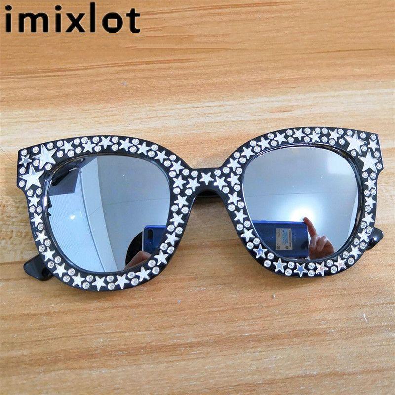 9bc7fc5104 Compre Imixlot 2018 Luxury Retro Sunglasses Women Crystal Cat Eye  Sunglasses Mirror Retro Full Star Gafas De Sol Mujer Negro Gris Sombra A  $17.28 Del ...