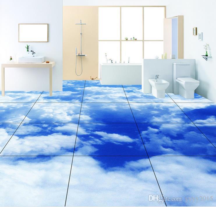 3d kat sticker Gerçekçi mavi beyaz bulutlar 3D kat sticker Ultra HD illüstrasyon PVC Su Geçirmez kendinden yapışkanlı Duvar Kağıdı