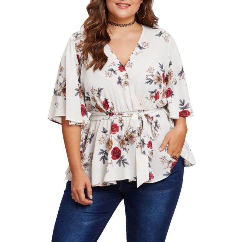 b6f52773af9c7 2019 N Fashion Women Blouse Plus Size 5XL Sexy V Neck Floral Print Flare  Sleeve Belted Surplice Peplum Tops Blouse Blusas Feminina From Yujian18
