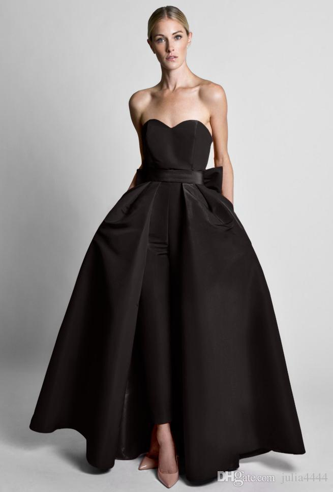 Krikor Jabotian Red Jumpsuits Evening Dresses With Detachable Skirt Sweetheart Prom Gowns Pants for Women Custom Made Big Bow Black White