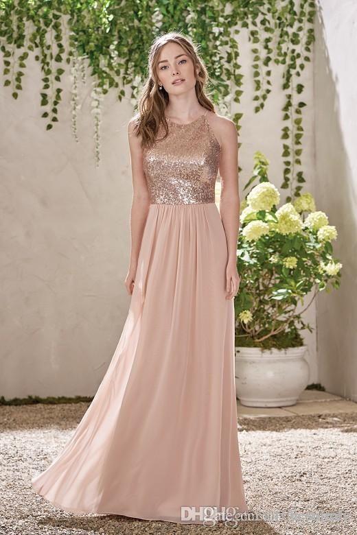 2018 Sparkly Gül Altın Payetli Gelinlik Modelleri Uzun Şifon Halter Bir Çizgi Sapanlar Ruffles Inci Pembe Onur Düğün Konuk Elbiseleri