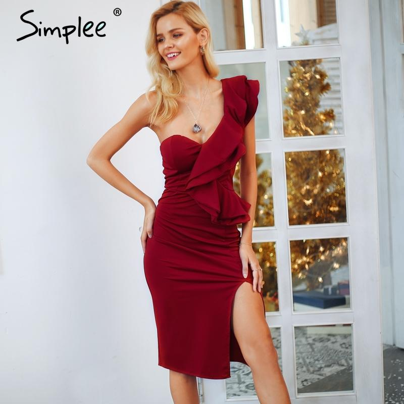 199bee5af Simplee One hombro volantes vestido sexy mujeres Split alta cintura bodycon  vino rojo vestidos de fiesta Elegante otoño vestido de invierno