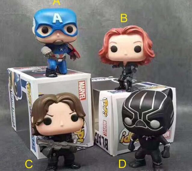 Party Gifts 12cm Avengers Funko POP Captain America Black Panther Winter Soldier Widow PVC Action Figure Model Toy Personalized Birthday Favors