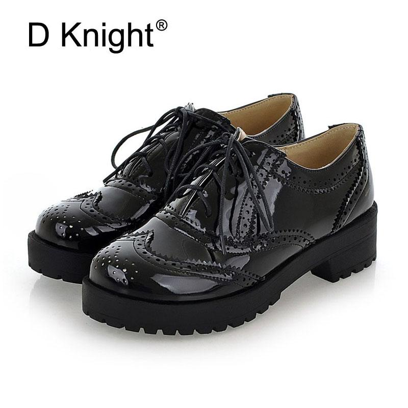Patent Leather Women Oxfords Fashion Carved Brogue Shoes Woman Lace Up  Oxford Shoes For Women Plus Size 34 43 Ladies Oxfords Womens Loafers Mens  Leather ... 1d82393fe
