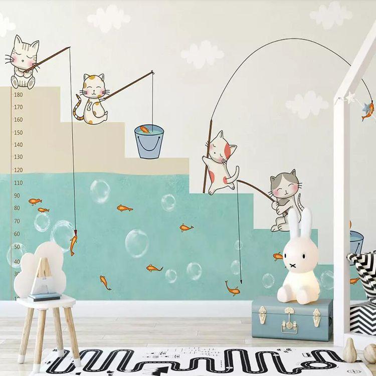 Satın Al 3d Karikatür Childlike Kitten Balıkçılık Duvar Kağıdı Yatak