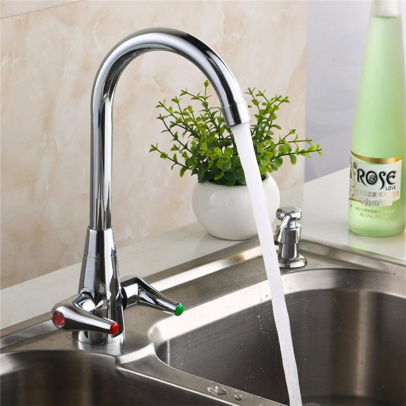 Best Xueqin Double Switch Copper Kitchen Cold Hot Mix Faucet Sink Mixer Tap  With Stainless Steel Braided Hose Water Faucet Under $33.48 | Dhgate.Com