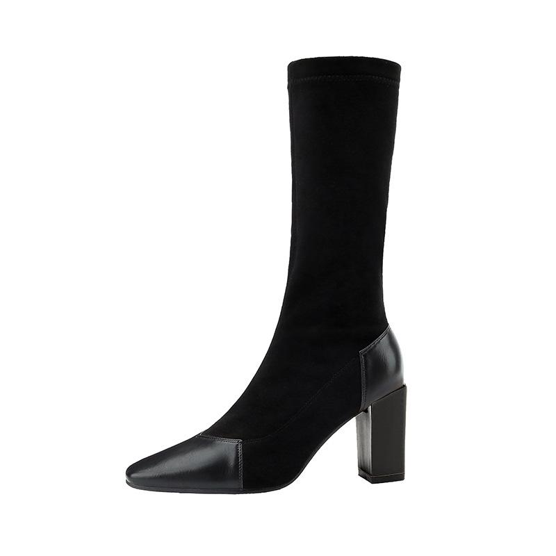 7b877aabe Sexy Block Heels Leather Faux Suede Boots Women Winter Shoes 2018 Mid Calf  High Heel Sock Boots Ladies Stretch Booties