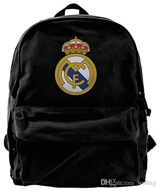 da54fc525760 Real Madrid C.F. Football Fashion Canvas Shoulder Backpack For Men   Women  Teens College Travel Daypack Designer Backpack Duffle Bag Black Mochilas  Jansport ...