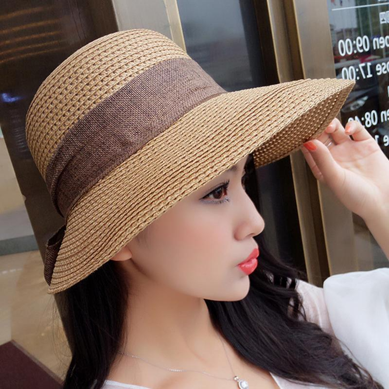 1b2e72433e8 Casual Summer Large Brim Straw Hat Beach Hats Adult Women Girls Fashion Sun  Hat Uv Protect Big Bow Sunbonnet Female Straw Tilley Hat Pillbox Hat From  ...