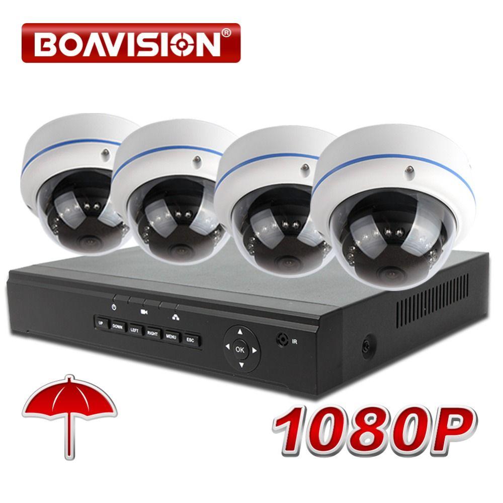 fd1f4ad5f Compre Kit De Sistema 1080P 4CH NVR Cámara Domo Resistente A La Intemperie  2MP IP Sistema De CCTV De Vigilancia POE NVR Grabación En Tiempo Real P2P,  ...