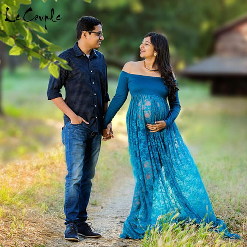 b7ec494b4f23e 2019 Le Couple Front Split Maternity Dress Slash Neck Pregnancy Dress  Jersey Top Stretchy Lace Photography Props Pregnancy Clothes From Heathera,  ...
