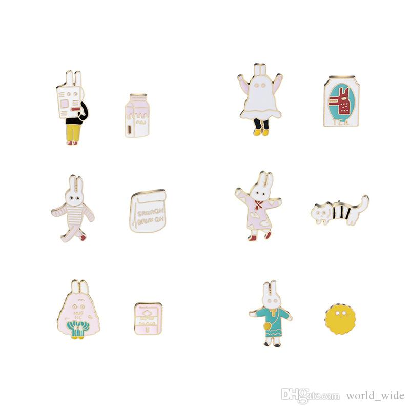 Rabbit Puppy Cartoon Brooch For Jeans Dogs Brooches On Backpack Jacket Metal Badge Fixing Prices According To Quality Of Products Home & Garden