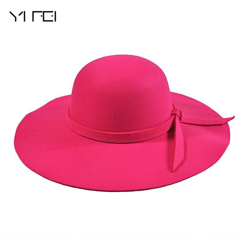 e700d5d636b 2019 YIFEI New Pillbox Hat Women S Wide Brim Felt Bowler Fedora Hat Floppy  Sun Bowknot Cloche Cap Women S Large Outdoor From Wonderliu