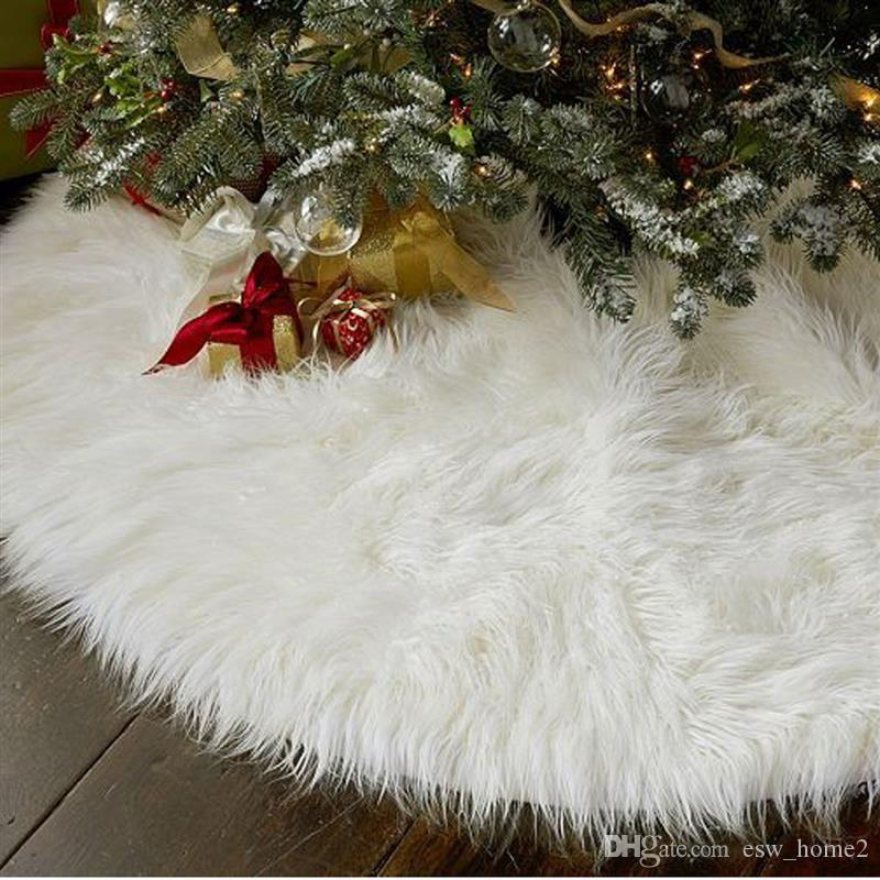 White Faux Fur Christmas Tree Skirt Carpet For Home New Year ...