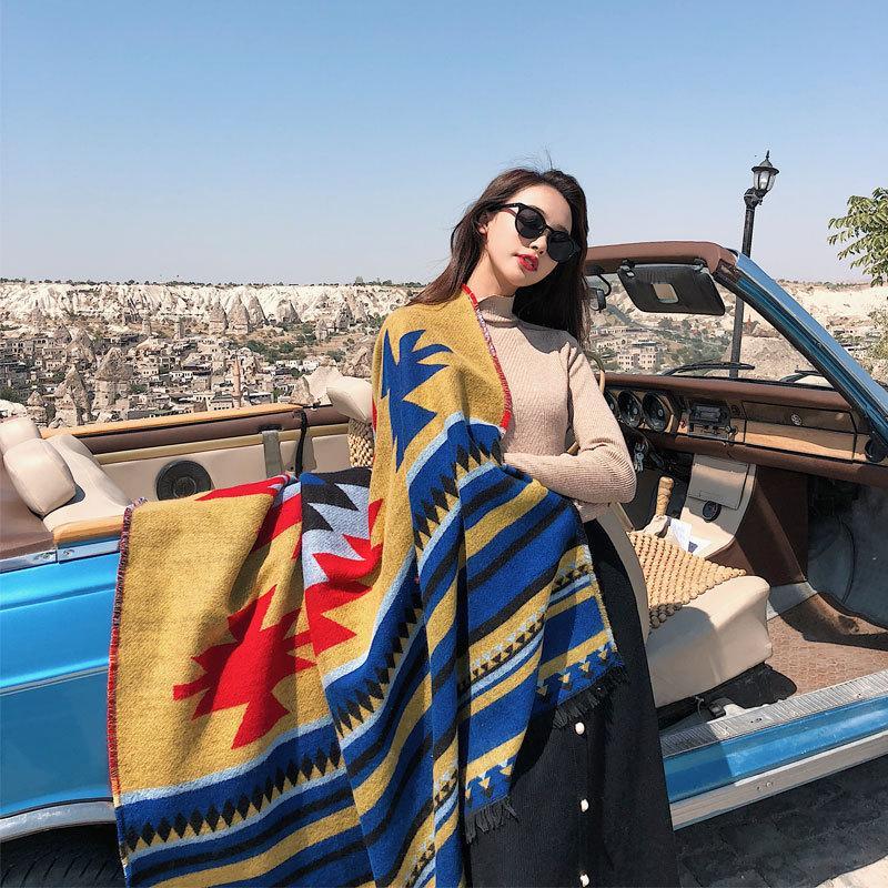 Acheter Bonne Qualité Automne Hiver Style National Femmes Cachemire  Imitation Écharpe Turquie Voyage Photo Chaud Châle Épaississement  Augmentation ... 288bf9290d7