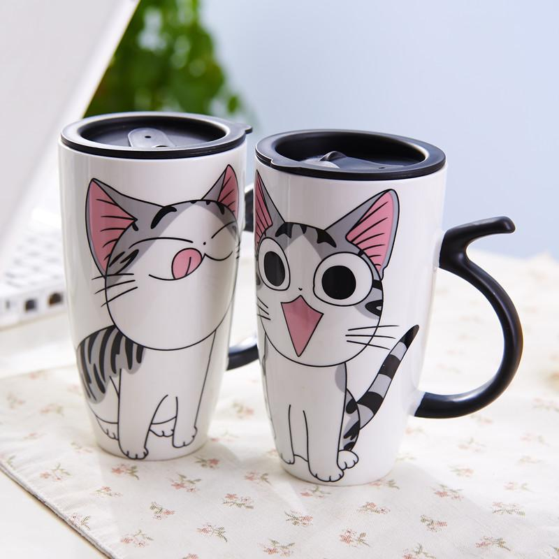 Cute Cat Ceramics Mug With Lid Large Capacity 600ml Mugs
