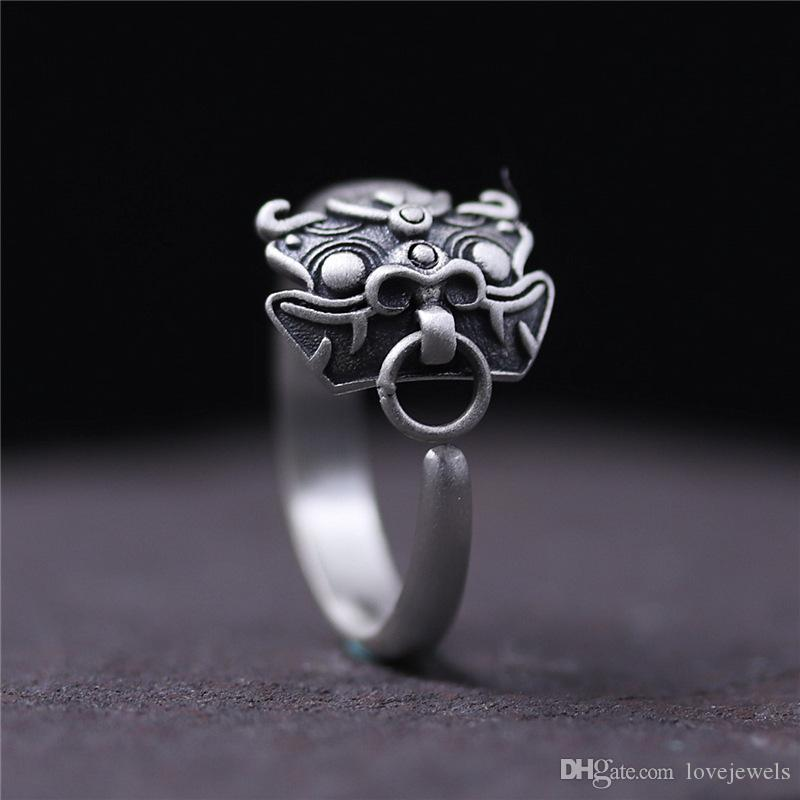 2dafb1f79 2019 925 Sterling Silver Ring Vintage Thailand Silver Coin Ring Opening Men  And Women Gluttonous God Beast Ring Hip Hop Jewelry Adjustable Chian From  ...