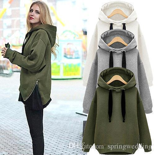Free Shipping Army Green New Winter Autumn Loose Hooded Jacket Plus Size Thick Velvet Long sleeve Sweatshirt Korean Style Hoodies FS5929