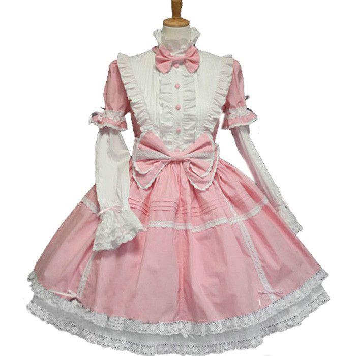 Pink Blue Black Cotton Multilayer Sweet Lolita Dress Halloween Cosplay  Dresses Anime Love Live Costume