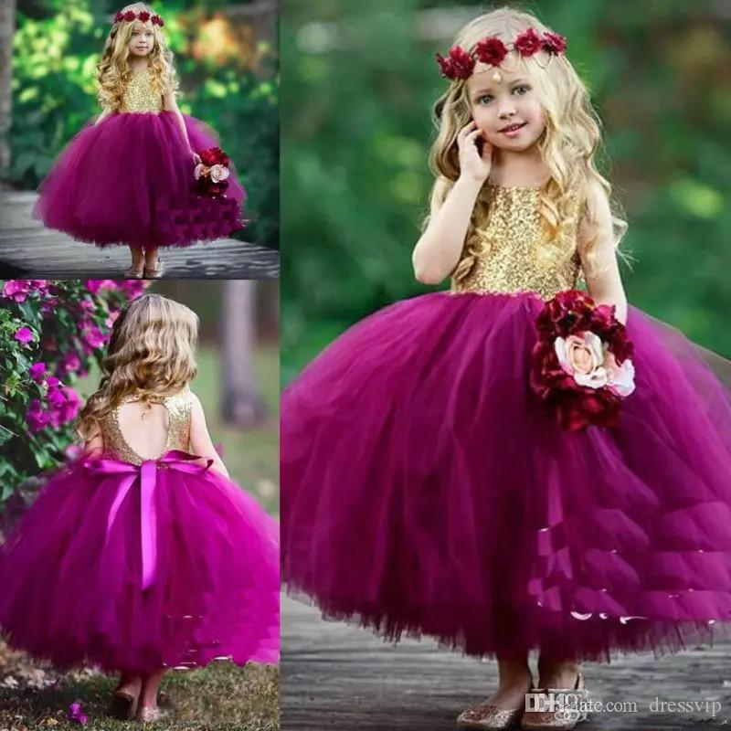 7fb9d28d63368 Purple Ball Gown Flower Girls Dresses For Weddings Sequined Tulle Toddler  Girls Pageant Dress Hollow Back Ankle Length First Communion Dress  Bridesmaid ...