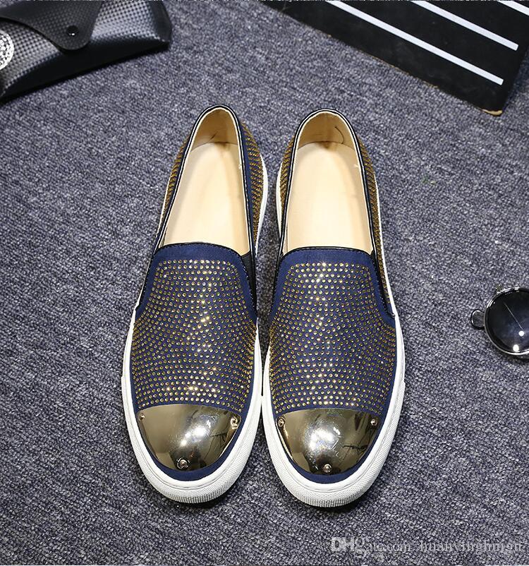 2018 Nuevo estilo Strass Hombres Mocasines Negro Suede Crystal Rhinestones Zapatillas Parte Vestido de boda Zapatos de los hombres Pisos de cuero Muchos N180