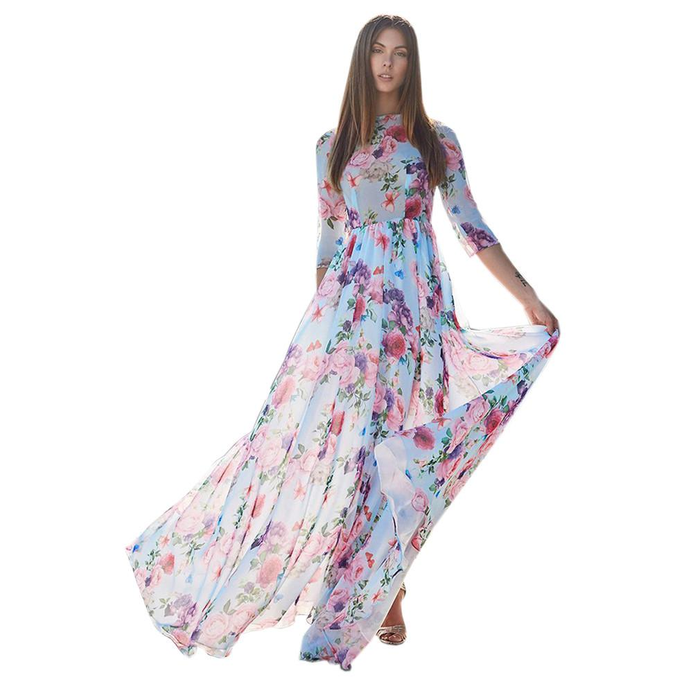 a22d0f6d41d5 Womens Floral Printing Three Quarter Sleeve Evening Party Beach Long Maxi  Dress 2018 Vestidos Vestido Summer Dress Women Verano Dress In White Party  Party ...