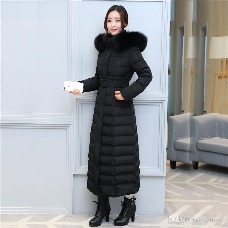 148ab6a29 Winter Down Parkas Real Fur Womens Super Long Down Jacket Belt Warm  Thickening Coat Snow Tops Plus Size S-3XL Black Blue 2018