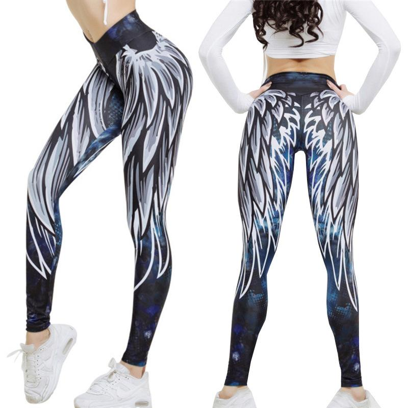 edfc0358c807b2 2018 Women's Workout Leggings Personalities 3D Printed Wings Yoga Pants Yoga  Sports Gym Leggings Sport Women Fitness Clothing