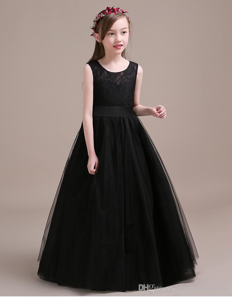 Beauty Black Tulle/Lace Jewel Flower Girl Dresses Princess Dresses Girl's Pageant Dresses Custom Made Size 2-6 8 10 12 14 KF402313