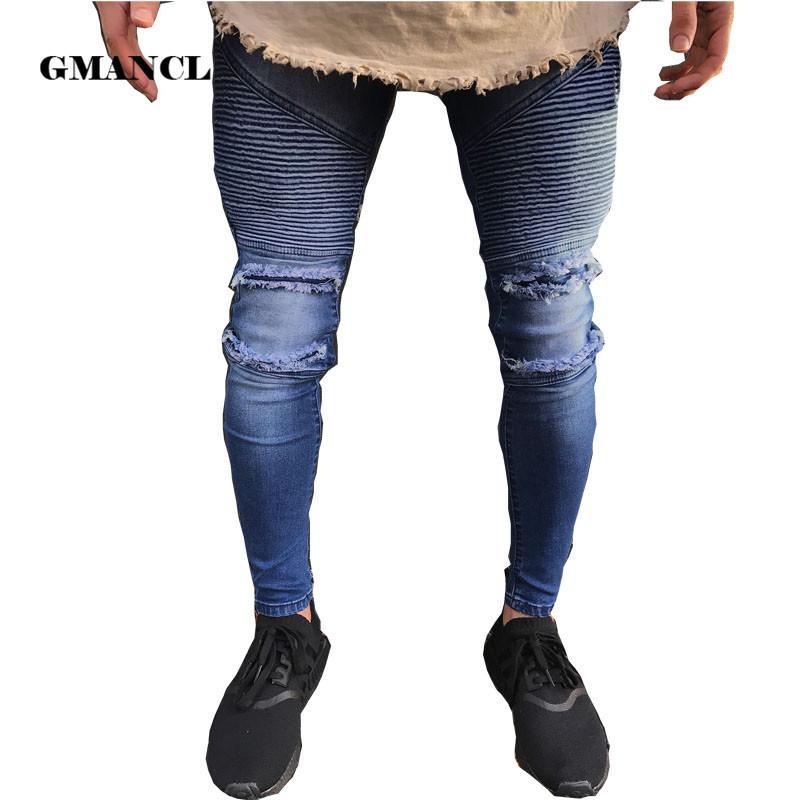 602e0d991f1d Großhandel 2018 Neue Jeans Loch Jogger Skinny Jeans Männer Blau Biker  Bleistift Hose Herren Zipper Gerippt Homme Streetwear Hip Hop Von  Clothwelldone, ...