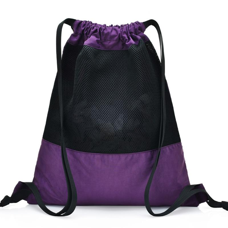 Reusable Shopping Bag Drawstring shoulder strap Grocery Shopping Bag Cotton Knit Net Fabric+nylon Bag