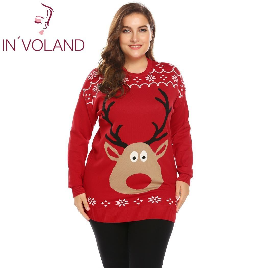 2019 IN VOLAND Big Size XL 4XL Women Sweater Pullover Autumn Winter O Neck Long  Sleeve Print Christmas Thin Knit Large Tops Plus Size C18110601 From ... f56db3d564c5