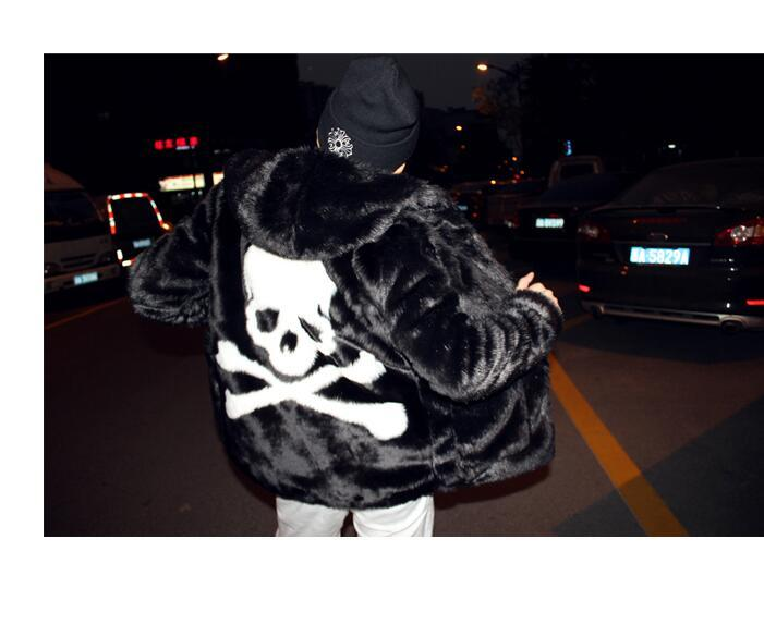 신사용 모피 모피 따뜻한 두꺼운 쿨 아웃백 스컬 장식 후드 코트 자켓 긴 소매