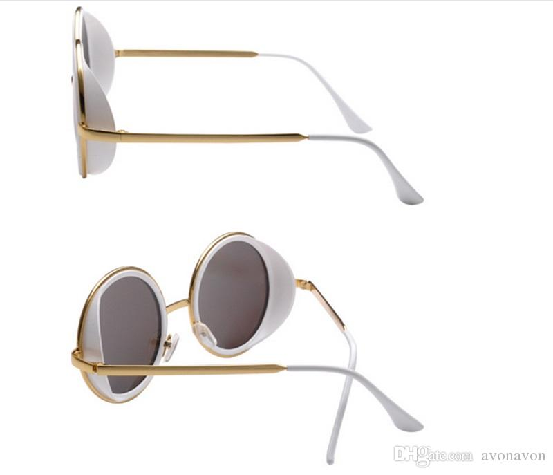 2018 hot fashion women brand sunglasses 3040 round shape gold frame fashion summer style UV400 lens dazzle shades a38