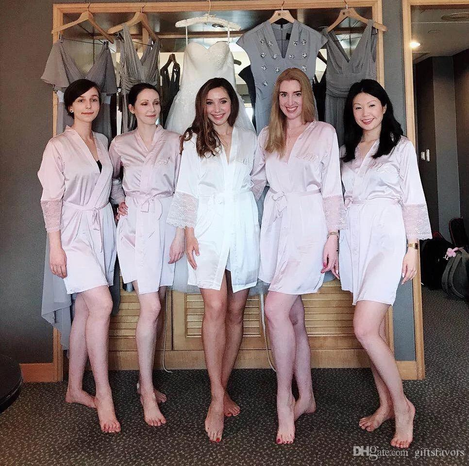 718d27f674 Satin Lace Bridal Robe Bridesmaid Kimono Robes Wedding Party Gift  Wholesales White Ideas For Party Favors Kids Wedding Favours From  Giftsfavors