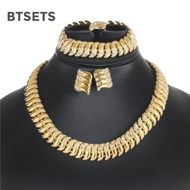 BTSETS Bridal Costume Jewelry Sets For Women African Jewelry Set Bridesmaid  Wedding Gold Color Vintage Choker Necklace Set Wedding Ring Wedding Ring  Sets ... bb8dd080b6b4