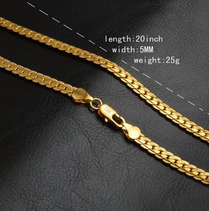 DHL 5 мм Мода Роскошные Мужские Женские Ювелирные Изделия 18 К Позолоченные Цепи Ожерелье для Мужчин Женщин Цепи Ожерелья Подарки Аксессуары Хип-Хоп