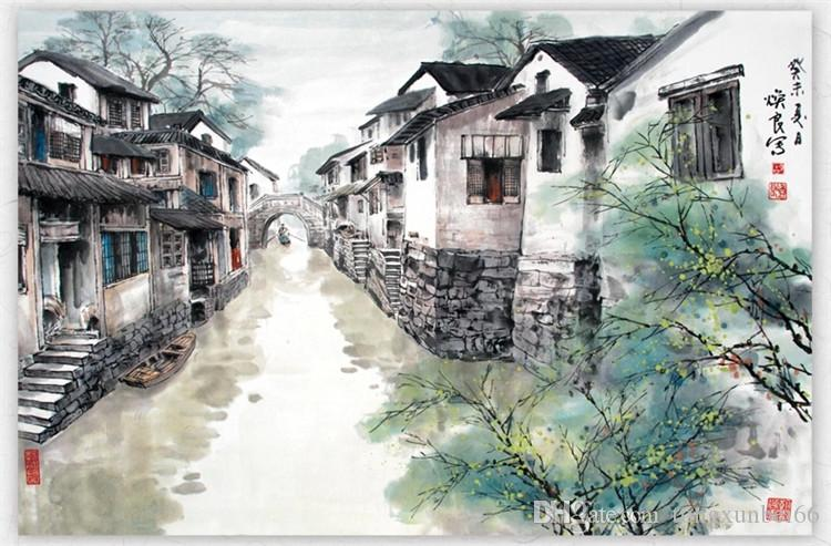 Chinese ink painting large murals study living room TV setting wall jiangnan scenery restaurant seamless wall cloth wallpaper