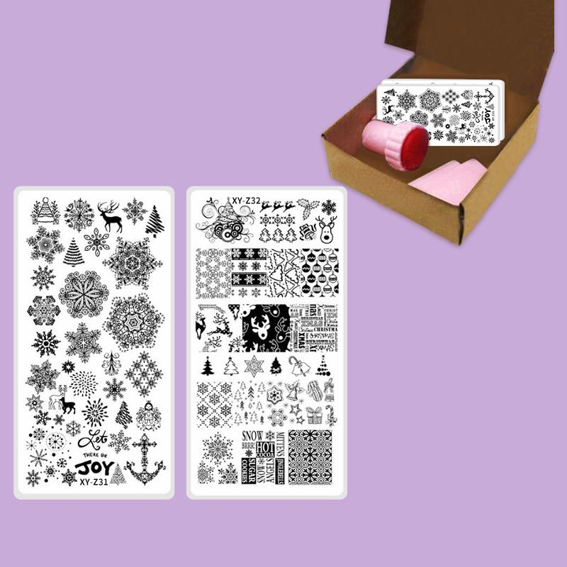 New Arrival Stamping Christmas Nail Plates Snowfake Xmas Nail Stamping Set  Stainless Steel Manicure Vinyl Stencils Tools