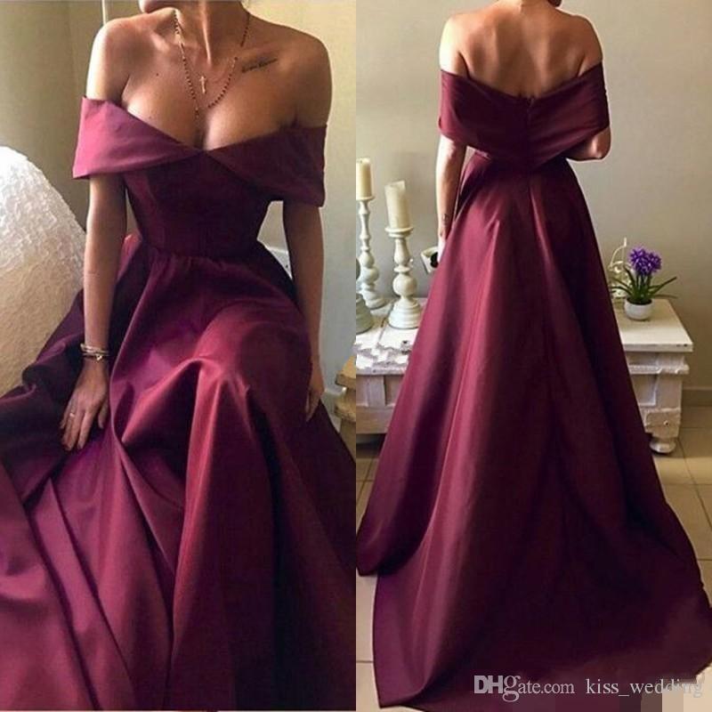Dubai Burgundy V Neck Evening Dresses Off The Shoulder A Line Long